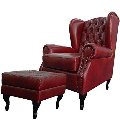 Ohrensessel Chesterfield Set mit Hocker
