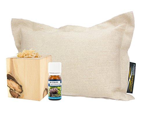 Gesundheitskissen Bio-Zirbenkissen (22x34cm) + Bio-Zirbenöl (10ml) + Original ZirbenWürfel mit ZirbenGold (Für Die Kissen Sauna)