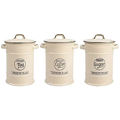 Pride of Place Tea Coffee and Sugar Storage Jars Cream by T AND G