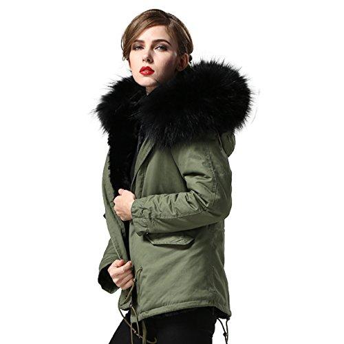 Damen PARKA XXL Kragen aus 100% ECHT PELZ ECHT FELL Jacke Mantel KURZ Khaki 8 Farben Schwarz