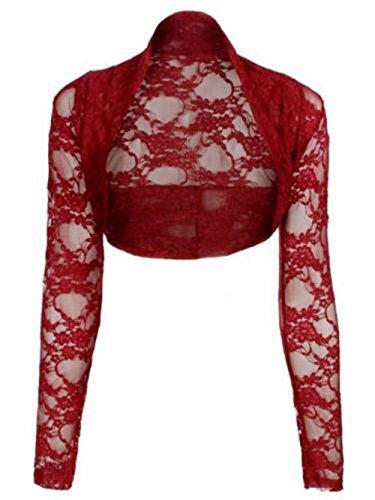 Janisramone maglia manica lunga pizzo scrollata di spalle bolero cardigan ritagliata Vino