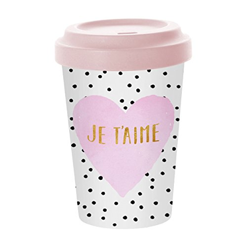 PPD Je T´Aime Bamboo Coffee-To-Go Becher, Kaffeebecher, Pappbecher, Trinkbecher, Bambus-Silikon,...