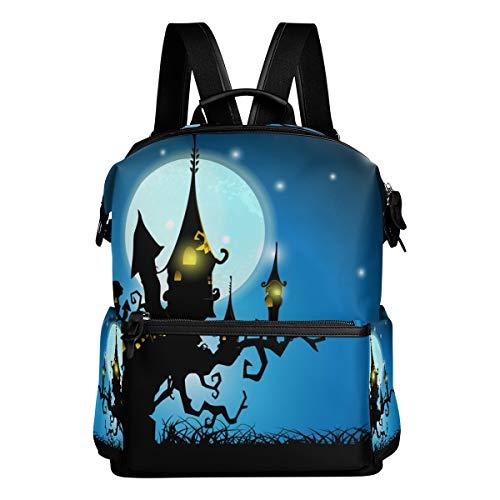 avel Daypack Schreckliches Halloween Haunted House Vollmond Nacht Student School Book Bag Casual Reise Wasserdicht ()
