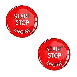 Skino 2 x Aufkleber 3D Gel Silikon Stickers Start Stop Engine Rot Durchmesse 24mm Zündschlüssel Start Stop Knopf Tuning KS 33