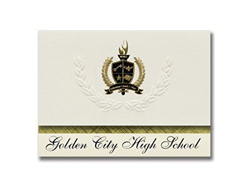 Signature Announcements Golden City High School (Golden City, MO) Abschlussankündigungen, Präsidential-Stil, Elite-Paket mit 25 goldfarbenen und schwarzen metallischen Folienversiegelungen