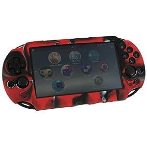 ZedLabz SC-1 Schutzhülle für Sony PS Vita 2000 Slim (Gel, weiches Silikon), Camouflage-Rot