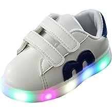 hibote Las muchachas de los niños del niño encienden para arriba los zapatos Zapatillas de deporte del LED azul tamaño 23