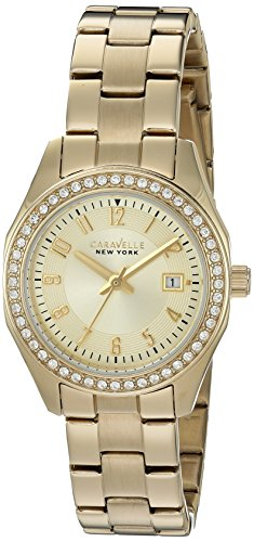 Ladies' Caravelle New York Crystal Gold Tone Watch