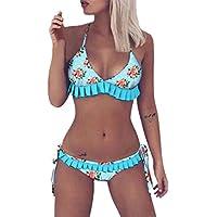Bikinis Mujer Talla Las Mujeres Talla Estampado Floral De Las Mujeres con Volantes Dividido Traje De BañO Bikini Lagartijas Engrosadas BañArse Ropa De Playa