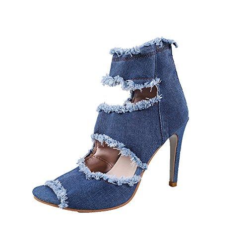 Scarpe con Tacco Alto Alla Caviglia e Sandali con Tacco in Denim, UOMOGO® Donna Mode Jeans Sandal, Scarpe con Tacco Donna (Asia 40, Blu)