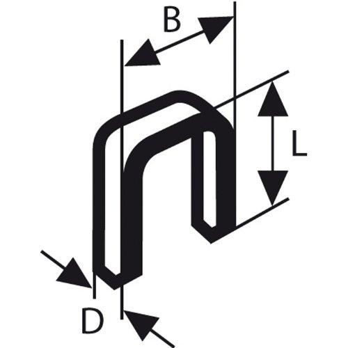 Bosch 2609200226 Agrafe à dos étroit type 55 résinée 6 x 1,08 x 19 mm, 3000 pièces