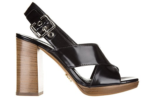 Prada sandali donna con tacco pelle spazzolato nero EU 35 1X543F 055 F0002