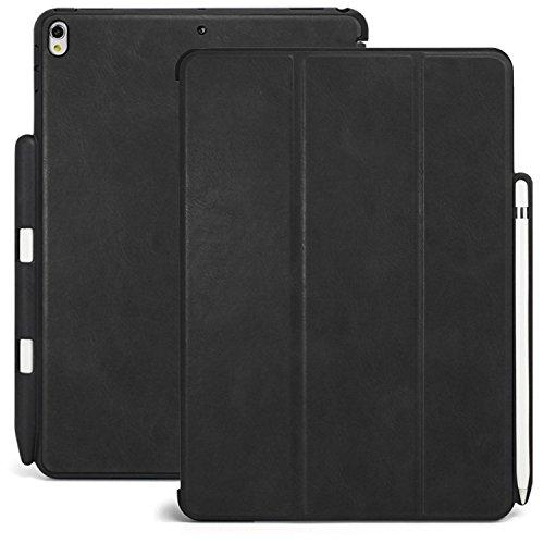 KHOMO iPad Pro 12.9 (2017) Case Hülle Gehäuse mit Doppeltem Schutz, Smart Cover und Apple Pencil 1 Halter Schutzhülle - Leder Schwarz Leder Smart Cover
