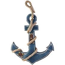 WINOMO Estilo mediterráneo ancla náutica azul colgando de la pared decoración de ...