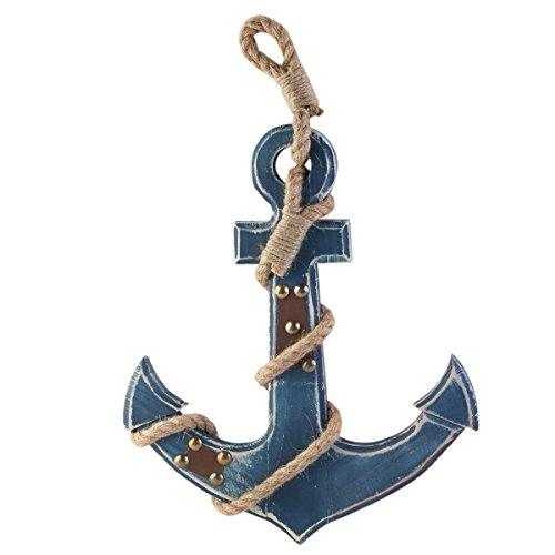 WINOMO Estilo mediterráneo ancla náutica azul colgando de la pared decoración de la madera (azul)