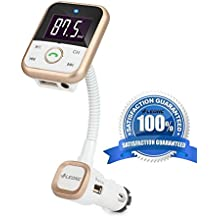 [Versione migliorata]LEONC 5 IN 1 Bluetooth Trasmettitore FM da auto con Chiamata Vivavoce & Controlli musicali - Funziona con Apple, Samsung, LG & altri Smartphone, Tablet, Lettori MP3(Oro)