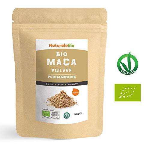 Maca Pulver Bio [ Gelatiniert ] 400g. Natürlich und Rein, hergestellt in Peru aus Bio Maca Wurzel. NaturaleBio