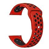 TurnTurn Cinturino per Gear S3 Frontier/Classic, 22mm Cinturino di Ricambio in Silicone Traspirante per Cinturino da Polso Sportivo in Silicone Morbido per Samsung Galaxy Watch 46mm (Rosso/Nero)