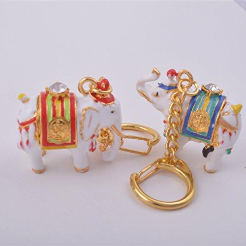 Feng Shui par de blanco llavero con diseño de elefantes amuleto +...