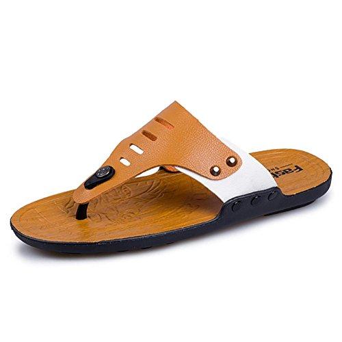 SHANGXIAN Tongs unisexe Thong sandale chausson de Mens Casual chaussures yellow orange