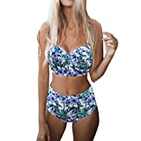 QingJiu Damen Gepolsterter Push-Up-BH Hight Waist Bikini Set Badeanzug Badeanzug Bademode(Blau,Small)