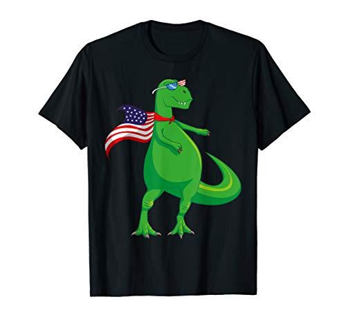 Flossing T-REX 4th Of July Dinosaur USA Flag Cape Sunglasses T-Shirt - Usa Cape