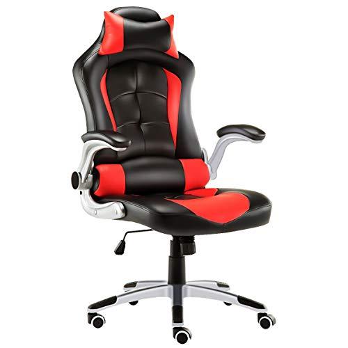 JL Comfurni Gaming Stuhl Bürostuhl Ergonomischer Gaming Computerstuhl höhenverstellbar Schreibtischstuhl 360°drehbar PC Stuhl mit verstellbaren Armlehnen und Kopfstütze aus Kunstleder Rot