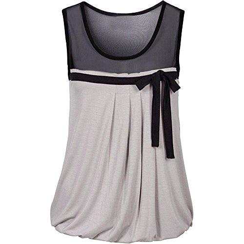 Damen Weste TräGershirts Bluse Frauen Sommer BeiläUfiges Bogen Spitze T Shirt äRmellose Hemd Sweatshirt Oberteil (XX-Large, Grau)