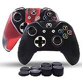 Skin Coque Lot 2pour Xbox One/Xbox One Fin/Manette Xbox One X Coque en Silicone antidérapant Grip étui Protecteur–8PCs Pro Pouce Grips–Camo Rouge