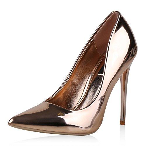 Stilvolle Damen Pumps Modische Akzente durch Spitze Schuhform & Lack Party oder Business Abschlussball Hochzeit Damen Pumps Rosa 38 (Spitzen Akzent)