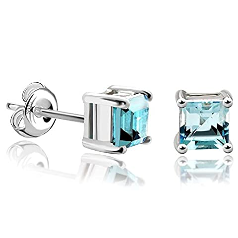 JewelryPalace Girl's Women Square Gemstone Natural Sky Blue Topaz Stud Earrings 925 Sterling Silver Pierced