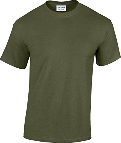 T-shirt da uomo in cotone pesante gildan, a maniche corte, con scollo rotondo military green xx-large
