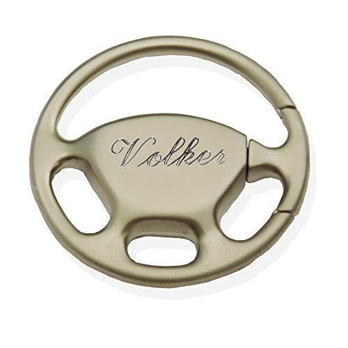 GravUp Schlüsselanhänger Lenkrad mit SOFORTGRAVUR + VORSCHAU: Gravur Vorname oder Datum oder Kennzeichen inklusive. Metall silber mattiert : Formule 1 / Formel 1 / Autosport