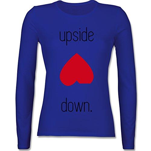 Statement Shirts - Spruch upside down - tailliertes Longsleeve / langärmeliges T-Shirt für Damen Royalblau