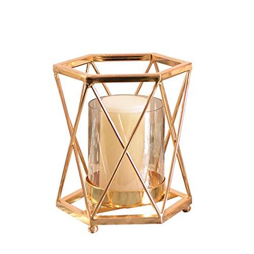 Chandeliers Bougeoir Bougeoir - chandelier en or de conception géométrique/lumière de thé, dîners aux chandelles pour mariage à la maison, chandelier (taille : S)
