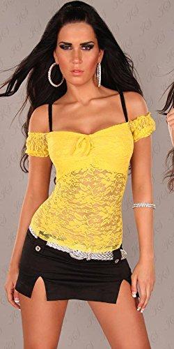 Feinstrick-Minikleid mit Strass Gelb