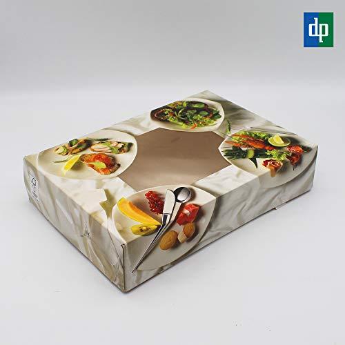 BAMI EINWEGARTIKEL 10 Stück Cateringbox Catering Tray Transportbox Karton mit Sichtfenster für Fingerfood, Vorspeisen, Fisch, Fleisch usw. - 56x37x8cm Catering-tray