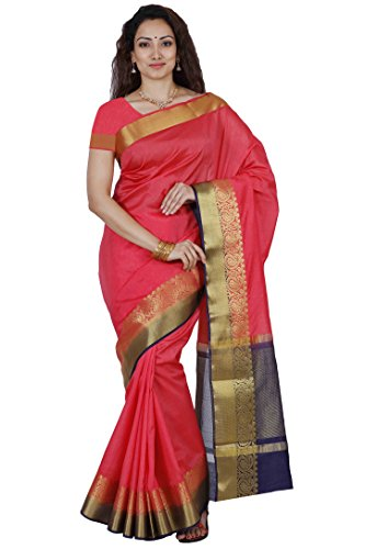 Mimosa By Kupinda Women's Tusser Silk Saree Kanjivaram Style Color :Straberry (3450-2123-STRW-NVY)  available at amazon for Rs.943