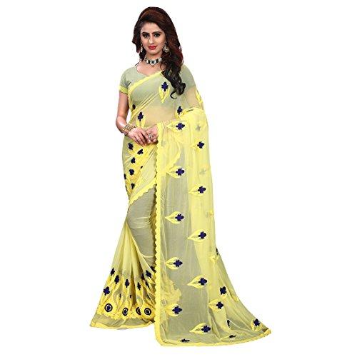 Craftsvilla Chiffon Embroidered Traditional Saree (Yellow)