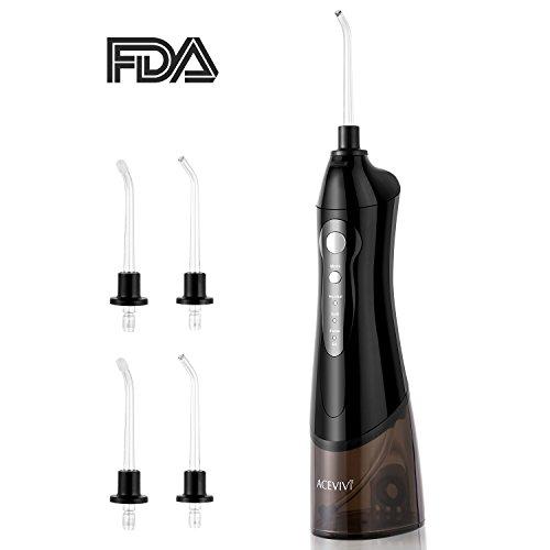 Guisee Water Flosser Oral Irrigator Tragbare Schnurlose Wiederaufladbar AirFloss mit 4 Jet Tipps Zur Zahnzwischenraumreinigung