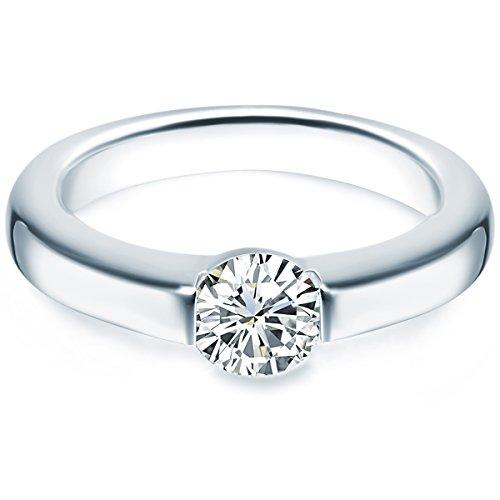 Tresor 1934 Annelli da Donna / Anello di fidanzamento in Argento Sterling 925 con rodio Zircone bianco Taglia 16 60451024