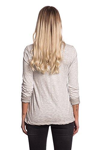Abbino 91532 Chemisiers Tops Femmes Filles - Fabriqué en Italie - 4 Couleurs - Transition Printemps Été Automne Plaine Chemises Manches Longues Elegante Vintage Casual - Taille Unique (38-42) Gris