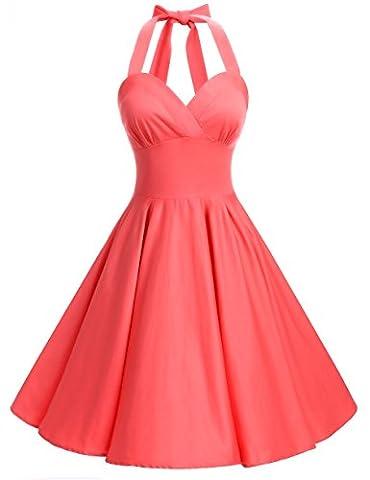 Bbonlinedress Women 50s Halter Retro Audrey Hepburn Polka Dots Pinup Swing Dress Coral S