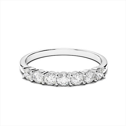 Anello in oro bianco massiccio con diamanti da 0,25 carati, impilabile, per anniversario di matrimonio e oro bianco, 61 (19.4), colore: bianco, cod. cjolr0003.13