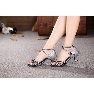 Silence @ pour femme Chaussures de danse latine/Samba satiné/paillettes/paillettes/synthétique Talon cubain Bleu/rouge/argenté/doré/autres bleu