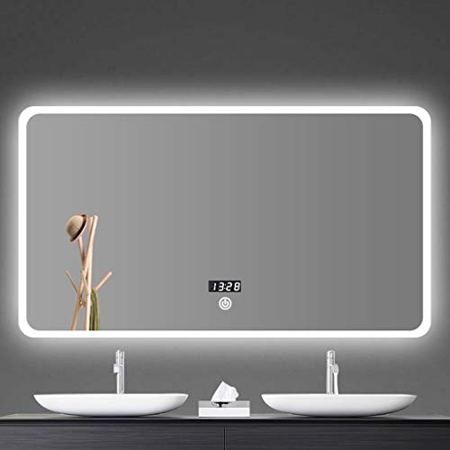 Espejo de baño LED Plaza Montado En La Pared Espejo Retroiluminado Interruptor Táctil Regulable Antivaho Maquillaje Espejo Inteligente (Color :...