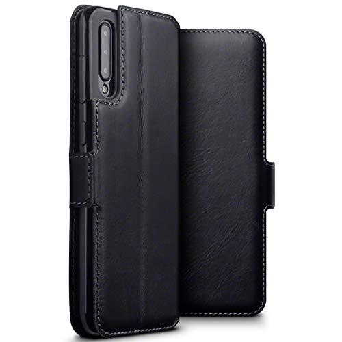TERRAPIN, Kompatibel mit Samsung Galaxy A50 Hülle, Premium ECHT Spaltleder Flip Handyhülle Samsung Galaxy A50 Hülle Tasche Schutzhülle, Schwarz