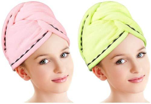 Luxspire Bonnet de Bain en Microfibre pour le Séchage des Cheveux[Lot de 2], Turban pour les Cheveux Longs, Serviette de Douche pour le Bain avec Boutons, Jaune et Rose
