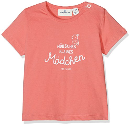 TOM TAILOR Kids Baby-Mädchen German Slogan T-Shirt, Orange (Flashy Coral 5458), 74 (Coral Bekleidung Baby)