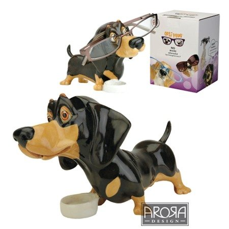 Brillenhalter - Brillennase - Brillenablage aus Polyresin im Hunde und Katzen Design (Motiv Dachshund)